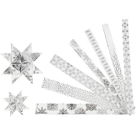 Stjernestrimler Vivi Gade metalfolie Bredde 15 + 25 cm diameter 6,5 + 11,5 cm Længde 44 + 78 cm - 48 stk