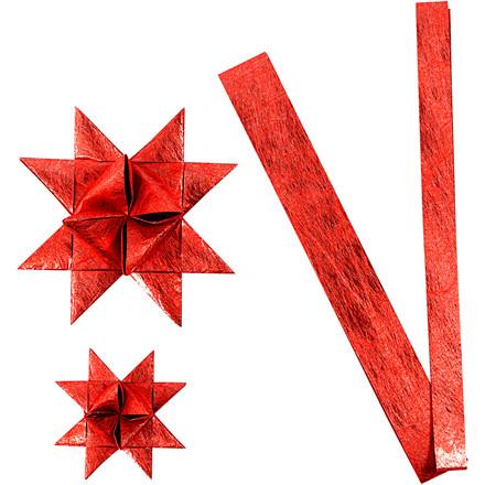 Stjernestrimler Vivi Gade rød silke B: 15 + 25 cm Ø: 6,5 + 11,5 cm L: 44 + 78 cm | 32 strimler