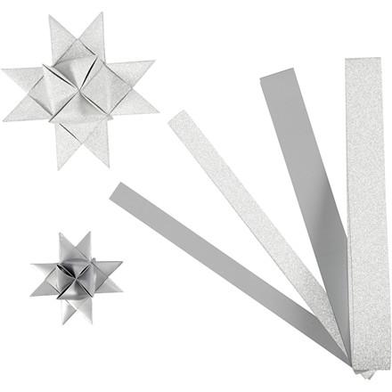 Stjernestrimler Vivi Gade sølv glitter og lak B: 15 + 25 cm Ø: 6,5 + 11,5 cm L: 44 + 78 cm | 40 stk