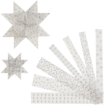 Stjernestrimler Vivi Gade hvid sølv vellum Bredde 15 + 25 mm diameter 6,5 + 11,5 cm - 48 stk