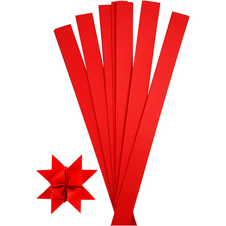 Stjernestrimler, B: 25 mm, dia. 11,5 cm, rød, 100stk., L: 73 cm