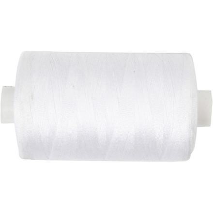 Sytråd hvid polyester   1000 meter