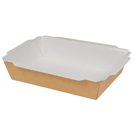 Take away bakke, brun, karton af bionedbrydeligt materiale, 1000 ml