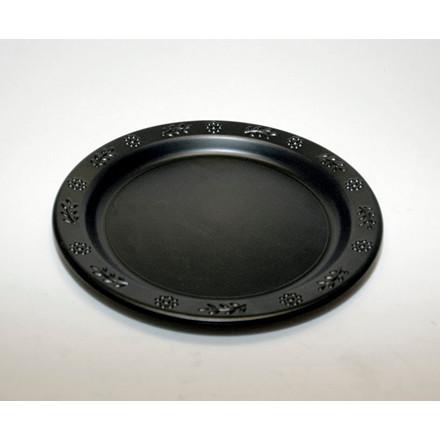 Tallerken flad rund plast sort Ø23cm 46stk/pak