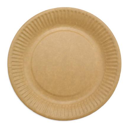 Miljøvenlige engangstallerkner frokost - pap 18 cm brun - 50 stk