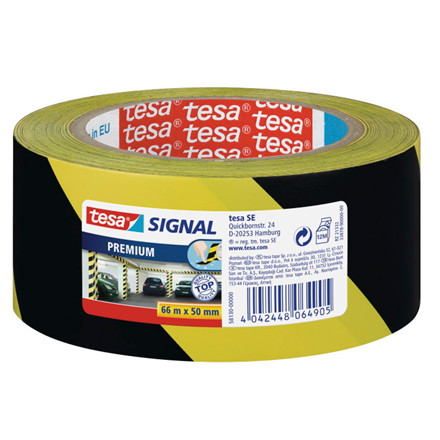 Tape tesa advarselstape PVC 48mmx66m gul/sort