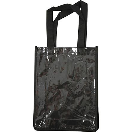 Sort mulepose med plastlomme - 30 x 23 x 7 cm - 1 stk