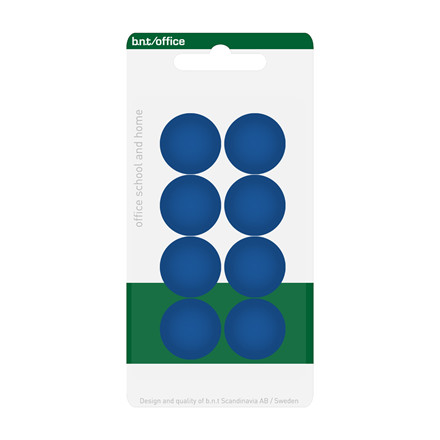 Tavle Magnet - BNT blå rund Ø 2 cm - 8 stk.