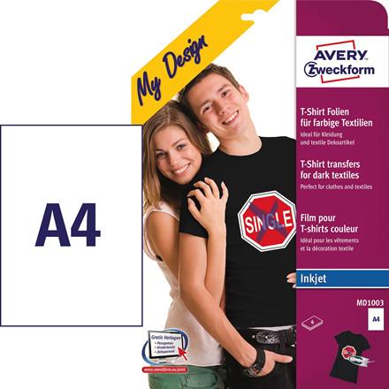 Avery MD1003 - T-shirt transfer A4 inkjet til mørke tekstiler - 4 ark