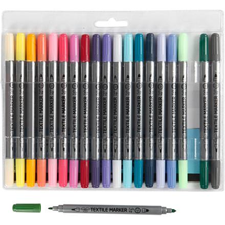 Tekstiltusser sæt med 20 forskellige suppleringsfarver - Streg 2,3 + 3,6 mm