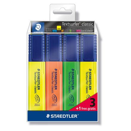 Tekstmarker Staedtler 364 assorteret 3+1/sæt Textsurfer Classic inkjet