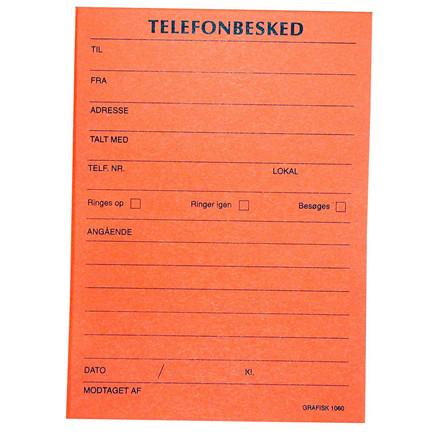 Telefonbesked - Grafisk orange telefonblok med tryk 10,5 x 14,8 cm 1060 - 100 ark