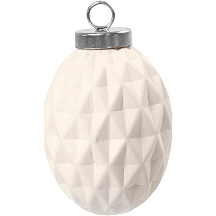 Terrakottakugle diameter 5 cm højde 7 cm hvid oval - 6 stk.