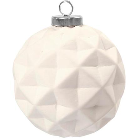 Terrakottakugle diameter 8 cm højde 9 cm hvid rund | 6 stk.