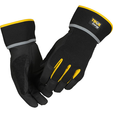 THOR Energy - Sort Halvdyppet PU Handske - Med manchet & touch - Størrelse 11