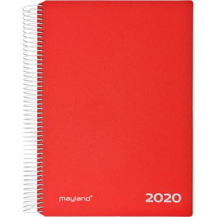 Timekalender Mayland 2020 hård PP rød 17 x 23,5 cm 1 dag/side - 20 2180 10