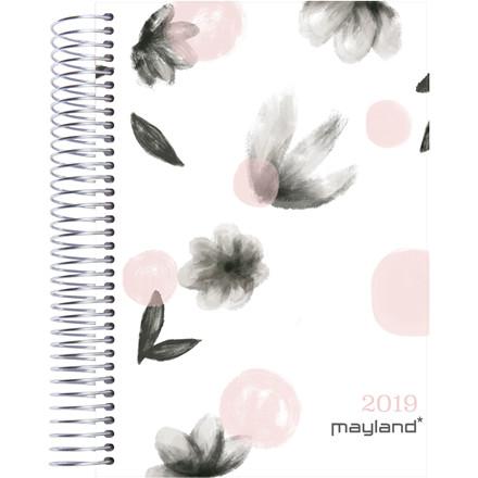 Mayland Timekalender 2019 blomster soft touch trend 17 x 23,5 cm 1 dag/side - 19 2180 30