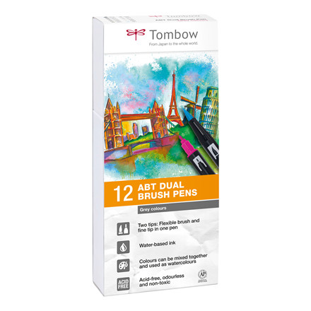 Tombow ABT Dual Brush 12P-3 gray colours