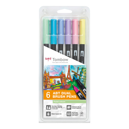 Tombow ABT Dual Brush 6/W pastel  6P-2