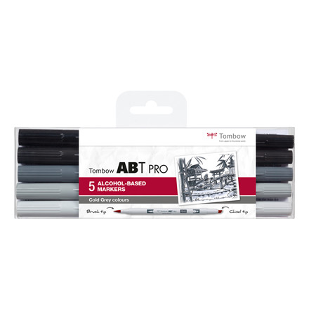 Tombow Marker alcohol-based ABT PRO Dual Brush 5P-4 cold grey colou