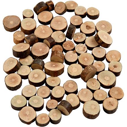 Træskiver med bark mix diameter 10-15 mm tykkelse 5 mm - 230 gram