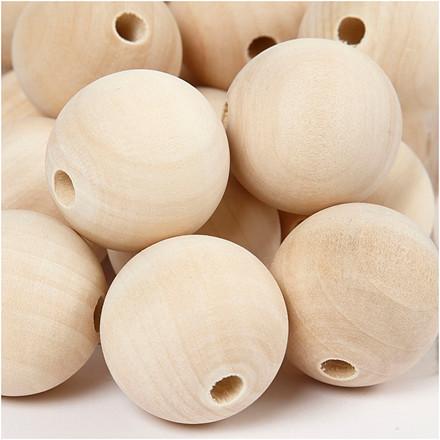 Træperle, dia. 30 mm, hulstr. 5 mm, kinesisk bærtræ, 50stk.