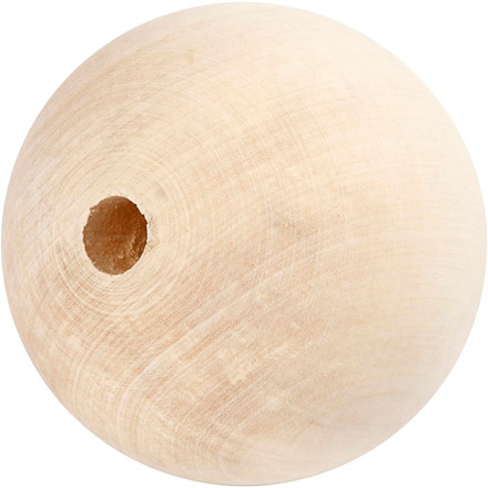 Træperle, dia. 80 mm, hulstr. 12 mm, græstræ, 1stk.