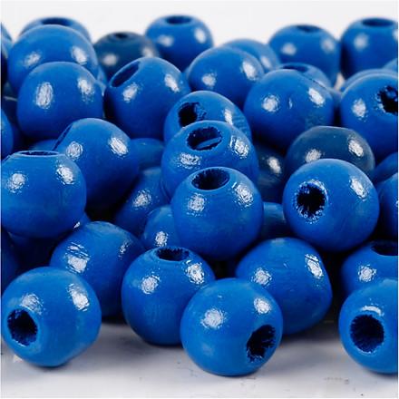 Træperler, dia. 10 mm, hulstr. 3 mm, blå, 20g, ca. 70 stk.