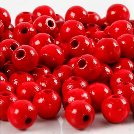 Træperler, dia. 8 mm, hulstr. 2 mm, rød, 15g, ca. 100 stk.