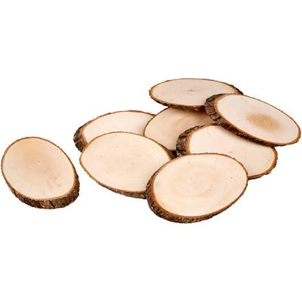 Træskiver cirka 11 x 7,5 cm tykkelse 8 mm | 12 stk.