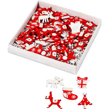 Træstickers størrelse  25-30 mm jul assorteret   100 stk.