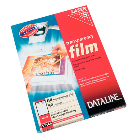 Transparent - Esselte 57169 farvelaser 100 mic med strip - 50 stk.