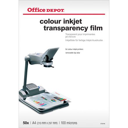 Transparenter Office DEPOT A4 farve inkjet 50stk/pak