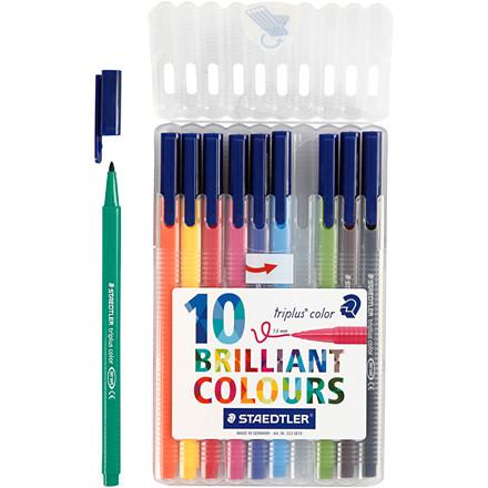 Triplus® color tusch, stregtykkelse: 1 mm, ass. farver, trekantede, 10stk.