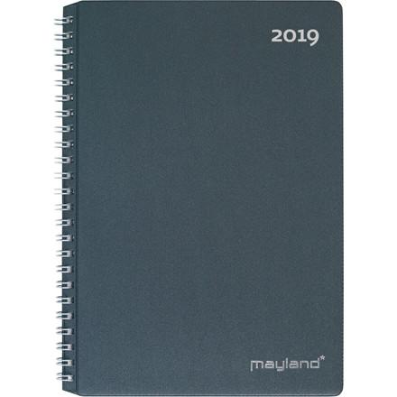 Ugekalender Mayland 2019 A5 hård PP mørk grå 15 x 21 cm højformat - 19 2000 00