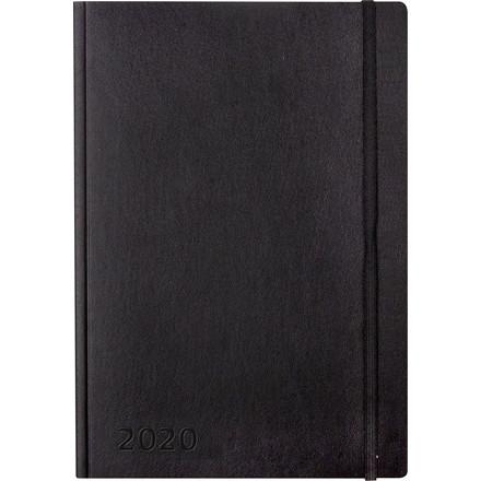 Ugekalender A5 kunstskind sort 15x21cm tværformat 20 2006 00