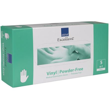 Undersøgelseshandske, Abena Excellent, S, transparent, vinyl, pudderfri, phthalatefri