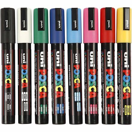 POSCA tusser sæt med 8 tusser - 2,5 mm PC-5M standard farver