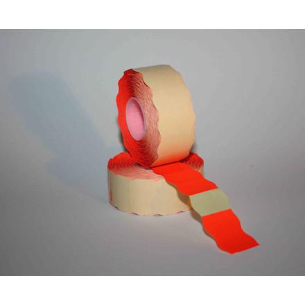 Prismærke - 26 x 16 mm fluor rød med permanent klæber - 6 ruller