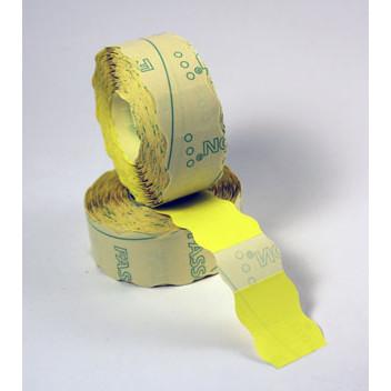 Prismærke - 26 x 16 mm fluor gul med permanent klæber - 6 ruller