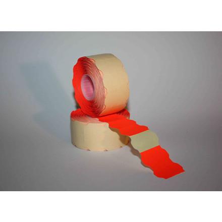 Prismærker -  32 x 19 mm fluor rød med permanent klæber - 6 ruller
