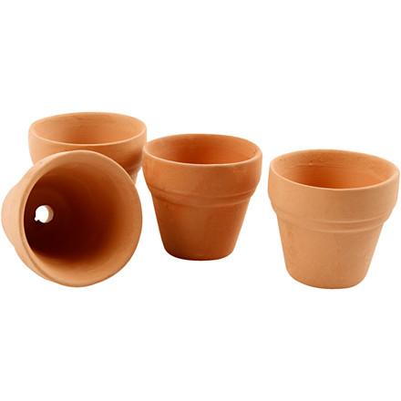 Små lerpotter diameter 3,4 cm højde 3,1 cm - 48 stk