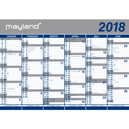 Vægkalender 2018 2 x 6 måneder 100 x 70 cm - 18 0641 00