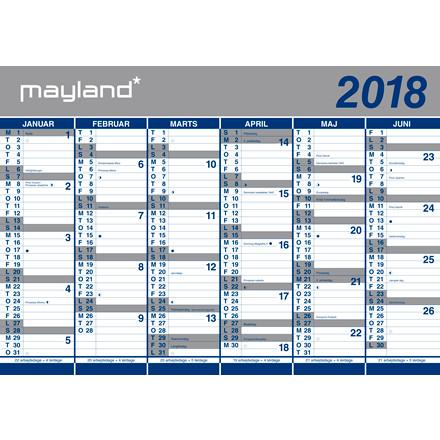 Vægkalender 2018 2 x 6 måneder 100 x 70 cm - 18 0640 00