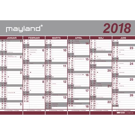 Vægkalender 2 x 6 måneder 2017/18 100 x 70 cm - 18 8075 00