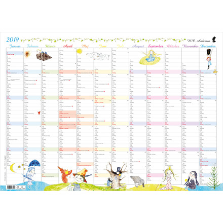 Mayland Vægkalender 2019 H. C. Andersen 70 x 50 cm - 19 0631 70