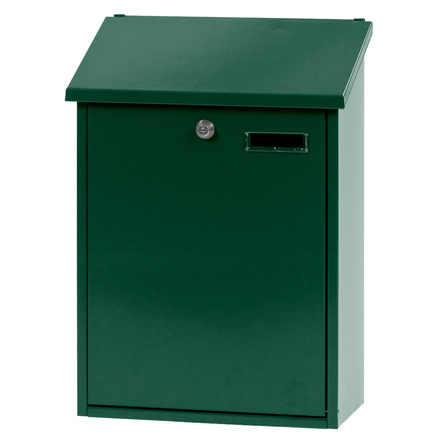 Vægmonteret postkasse large, V-part, klar til vægmontering, grøn,