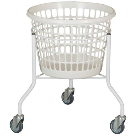 Vasketøjskurv på hjul 32 liter - Hvid kurv 60 cm Ø: 44 cm 3 hjul