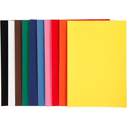 Velourpapir, A4 21x30 cm, 140 g, ass. farver, 50ark