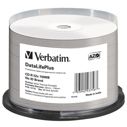 Verbatim CD-R AZO, 52X, DL + Wide Thermal Printable (50)